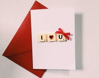 I love u scrabble card