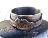rustic mountain range ring, outdoor wedding ring two tone promise ring, silver and copper wedding band personalized custom mountain ring men