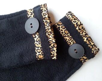 Fleece Fingerless Mittens, Fleece Fingerless Gloves, Wrist Warmers, Hand Warmers, Black Leopard Print Mittens with Vintage Buttons, Gift