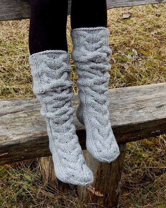 Hand Knit Wool Slipper Socks Knit Knee Socks Cable By