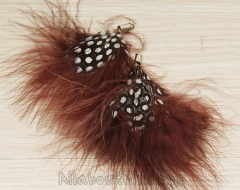 F005-BROWN // Brown Colored Fluffy Fan Feather Pendant, 2 Pc