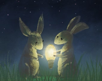 Bunny Rabbits Giving Light Print