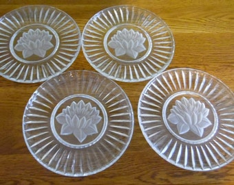 Set of 5, elegant glass dessert plates with etched and frosted flowers.