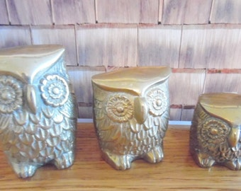 Set of 3~ figural, solid brass OWL Family.