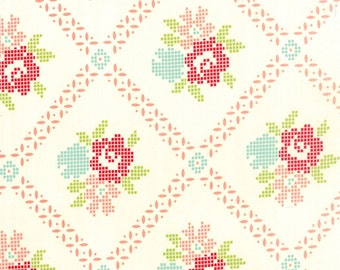 SALE!! 1/2 Yard - Vintage Picnic-Bonnie and Camille - Cream-Coral - Moda - Fabric Yardage - 55120-17