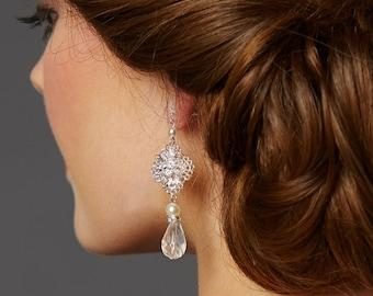 Filigree Bridal Teardrop Earrings with Pearl and Crystal