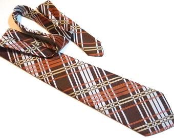 Vintage Plaid Tie,70s Tie,Wide Tie,Polyester Tie,Trending Plaid Necktie,COUNT CHRISTOPHER Tie,Brown Striped Tie,55 x 4 Kipper Tie,Retro Tie