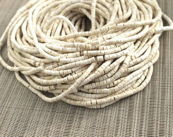 3-4mm White Ivory Coconut Shell Heishi Beads - Bleached - 23 inch strand