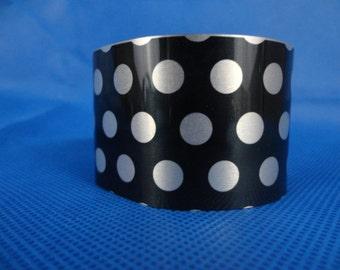 Large Cuff Bracelet Black with white Polka dots