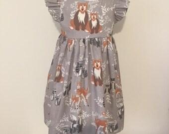 Girls Dress - Girls Party Dress, Woodland Animal - Bears - Woodland Animal Party Dress Girls Birthday Party Dress,  Girls Kindergarten Dress