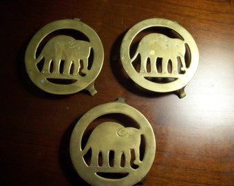 Set of 3 Brass Elephant Trivets