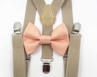 FREE DOMESTIC SHIPPING! Tan Suspenders + peach bow tie kids children toddler boy boys wedding pictures birthday formal wedding ring bearer
