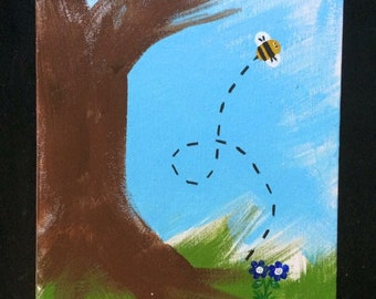Playful bee painting