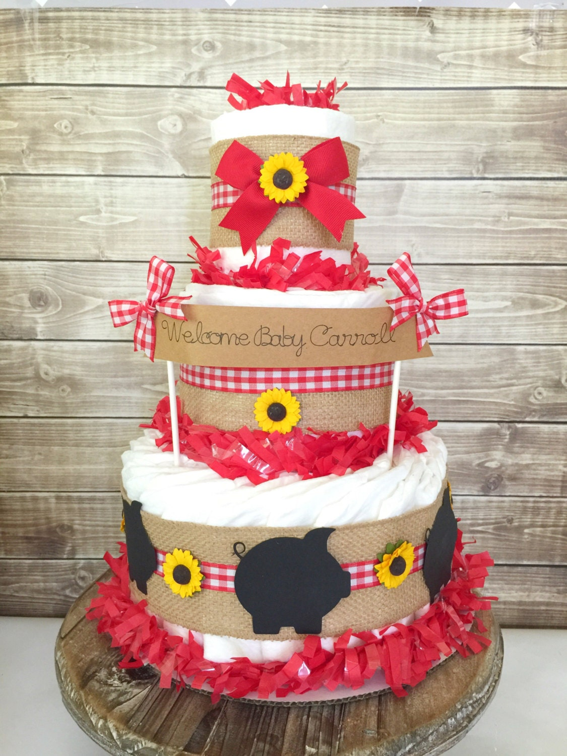 BBQ Baby Shower Centerpiece, Farm Baby Shower Decoration, Gingham Diaper  Cakes, Baby Q