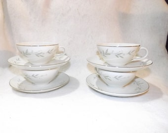 SALE- Vintage Set of 4 St Regis 101 Teacup And Matching Saucers Fine China - Made in Japan Tea Cup