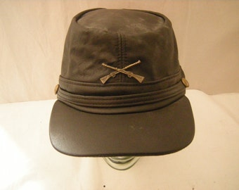 leather rebel cap-confederate leather cap-black leather-crossed gun pin-Henschel Hat Co.