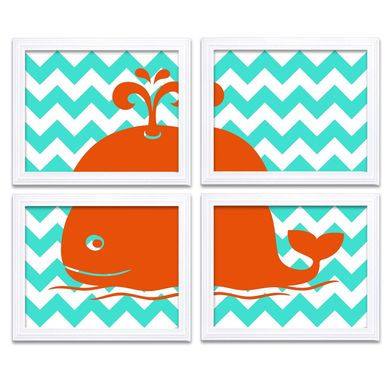 Blue Turquoise Orange Whale Nursery Art Set of 4 Prints Chevron Child Art Kids Room Wall Decor Baby