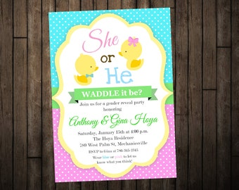 Duck Gender Reveal Invitation - Digital or Printed