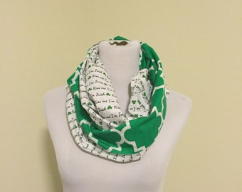 St. Patricks day scarf kiss me and green quatrefoil WILL SHIP QUICKLY