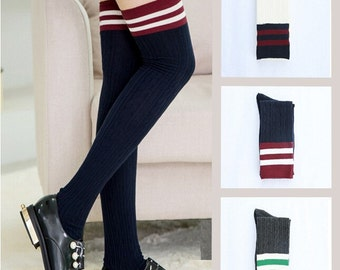 3 Pairs New Women's Girl's Cotton Up Striped Cable Knit Thigh High Over Knee Boot Socks
