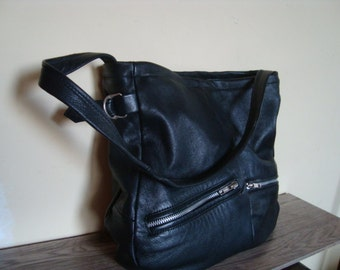 Black leather bag/ recycled leather bag