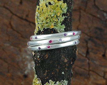 Silver Gemstone Ring, Gemstone Ring, Gemstone Stacking Ring, Amethyst Ring, Silver Ring with Stones, Red Gemstone Ring, Silver Ruby Ring