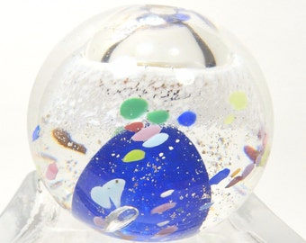 Art Glass Paperweight with Hole through Top, End of Day Design Adventurine Vtg