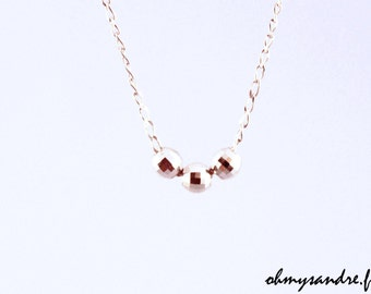Necklace beads faceted sterling silver