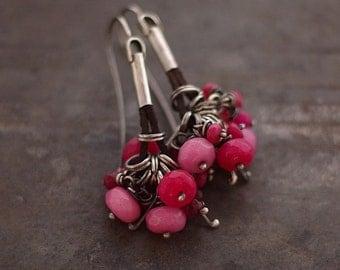 SALE ! USE COUPON • pink jade earrings • sterlig silver 925  • cluster earrings  • summer earrings leather earrings
