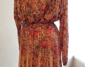 FLORAL PLEATED 80s dress UK 12-14