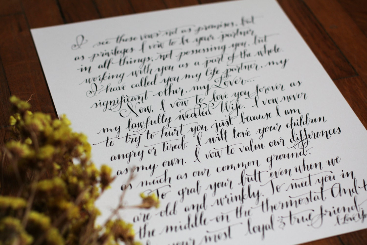 Wedding Vows Gift: Calligraphy Wedding Vows Anniversary Gift Calligraphy