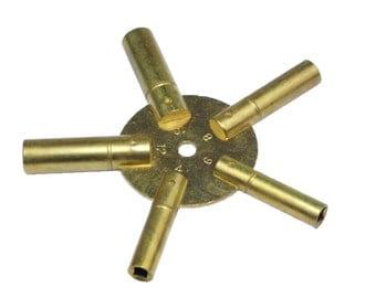 Proops Brass Spider Clock Winding Keys. Sizes 3, 5, 7, 9, 11. (J1138) Free UK Postage