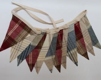 Tweed Bunting, Red, Cream and Blue Pennant Flags, British Flag Bunting, Union Jack Decoration, Fabric Garland, Tweed Pennant Banner