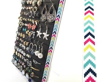 Stud Earring Organizer - Multi-Color Chevron Ribbon - Earring Holder - Leave Backs On