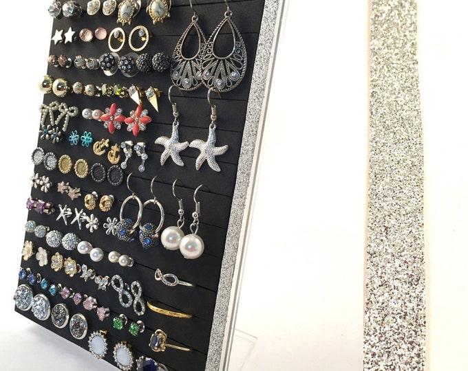 Stud Earring Holder - Silver Glitter Ribbon- Earring Organizer- Leave Backs On.