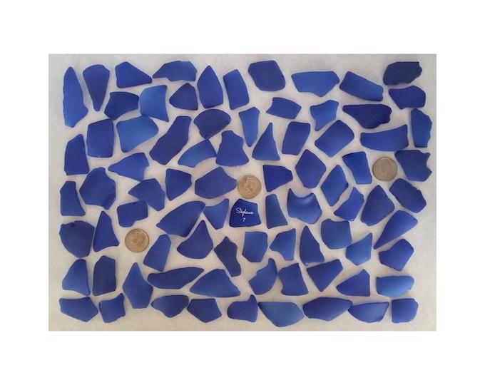 SEA GLASS WEDDING,  Escort Cards, Seating Cards  - Cobalt Blue -  Beach Glass, Machine Tumbled, 80 Pieces. Item 7099
