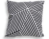 Tribal Stripes Pattern Reversible Pillow Cover in Black and White - Modern Geometric Décor