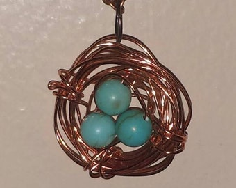 Teal beads Bird's nest necklace