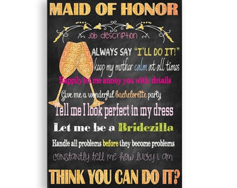 Maid of Honor Card Will You Be My Maid of Honor  Maid of Honor Job Description  Gold Glitter Printable