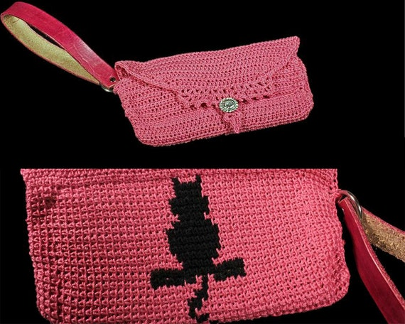 Pink Wristlet, Cat Wristlet, Handbag, Leather Interior, Leather Handbag, Crochet Handbag, Rhinestone Button, Original Design, Boho Chic