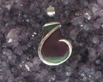 Handmade Ruby in Zoisite pendant wrapped in sterling silver by Isabella Roth
