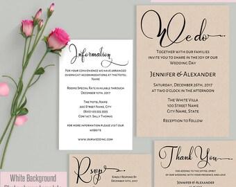 Wedding invitation, Printable Wedding suite, Instant download self editable PDF W115