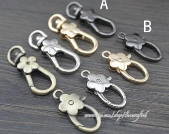 4pcs metal snap hooks swivel hooks swivel clasp Lobster clasp plum flower buckle dog button keychains Flowers hang buckle decorative buckle