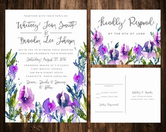 Watercolor Lilac Wedding invitation Suite; Purple, Lavender