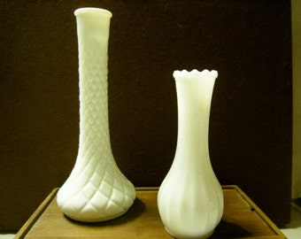 2 bud vases-milk glass-table scape-wedding-shelf decor-flower arrangements-