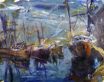 Landscape Painting With Fishing Boats And Docks, 30W x 22H Inches