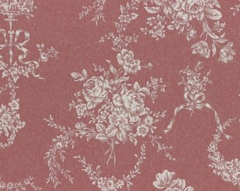 Beautiful Ivory Roses, Ribbons, and Floral Vines Swirl on Antique Rose Background, Lecien (By 1/2 Yard)