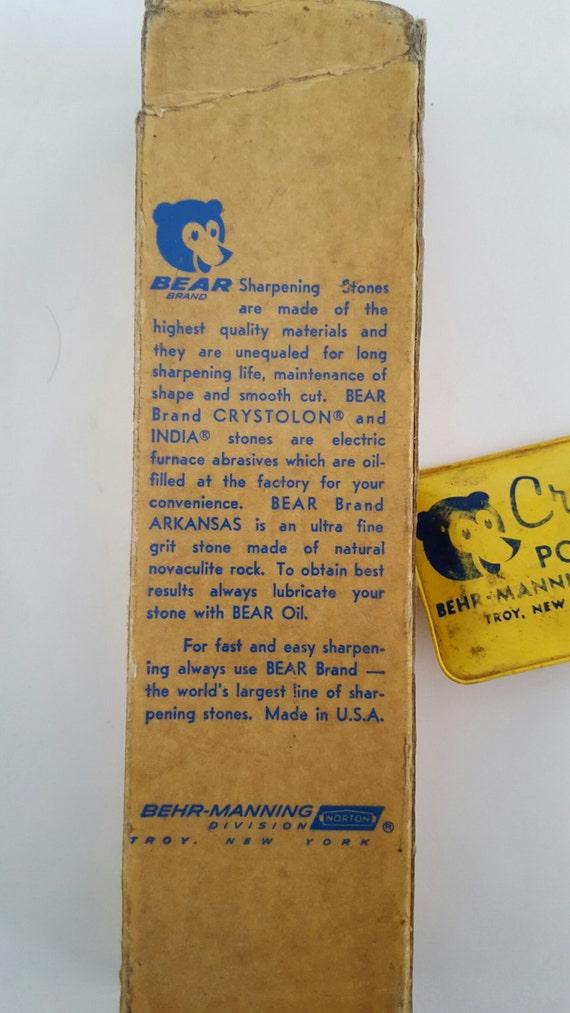 Vintage Bear Brand Behr Manning Co Oil Filled Sharpening