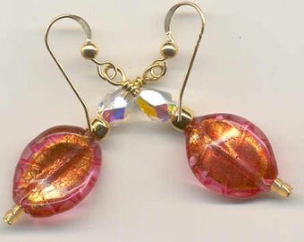 "Venetian Glass Bead ""Twist"" Earrings with Rubino Oro and 24 Karat Gold Foil, Murano Glass, Gold Filled Wire Earrings"