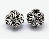 Two Brass Hollow Filigree Beads, Bicone, Antique Silver, 14.5x14.5mm, Hole: 2mm    120